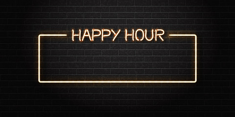 Vector realistic isolated neon sign of Happy Hour frame for decoration and covering on the wall background. Concept of night club, free drinks, bar counter and restaurant.