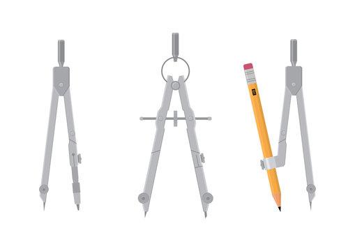 Vector illustration. Compass measuring instrument.