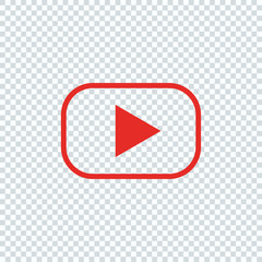 Red button for video player. Line design
