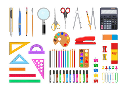Vector illustration. Set of stationery tools.