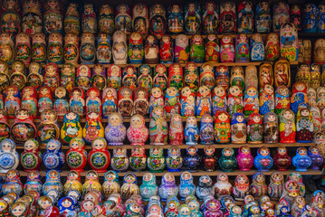a lot of Russian dolls matryoshka
