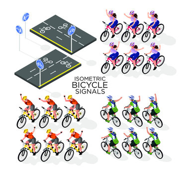 set for cycling. Hand signals for cyclists, road signs for cyclists. isometric 3d
