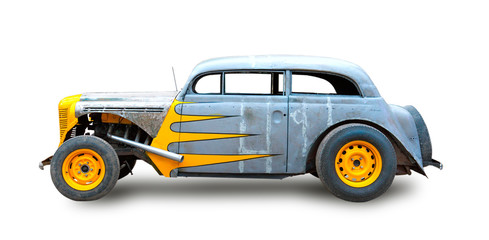 A beautiful customized classic hotrod. White background.
