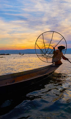 Burmese fisherman on Inle Lake, Myanmar