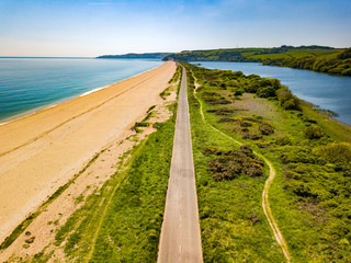 An aerial view of Slapton Sands in Devon UK