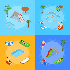 Aqua Park Banner Card Set Isometric View. Vector