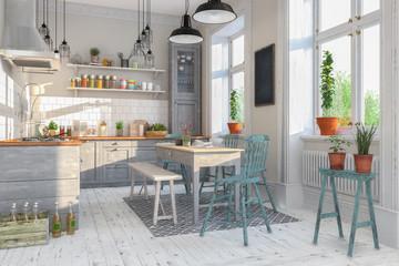 Skandinavische, nordische Küche - Wohnzimmer - Esszimmer - Wohnung - Altbau