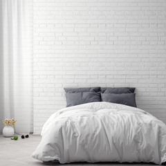 Mock up poster in bedroom interior background and brick wall, 3D illustration