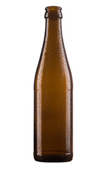 small brown beer bottle isolated on white background