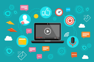 Video marketing. Video, webinar, online conference. Online communication on the Internet.