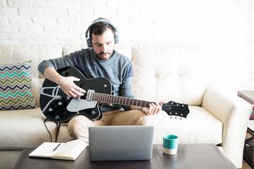 Musician recording new music