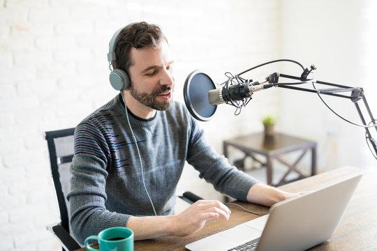 Radio deejay hosting an online radio