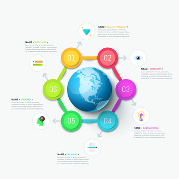 Modern infographic design template. Six circular elements