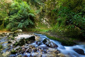 Abkhazia. Caucasus. Mountain river flowing through the rocks. Long exposure.
