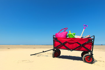 Hand cart at the beach