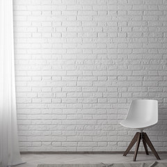 Mock up poster frame in hipster interior background with brick wall, 3D illustration