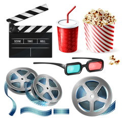 Vector realistic set of cinema equipment, cardboard bucket with popcorn, plastic cup for drinks, reel with tape, glasses, clapperboard. Clipart with objects of film industry isolated on background
