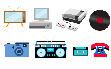 Set of old retro vintage hipster technology, electronics: computer, audio recorder, game console, audio cassette, disk telephone, vinyl record, camera, TV set on a white background. illustration.
