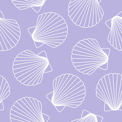 white seashells on a purple background sea ocean shell pattern seamless vector