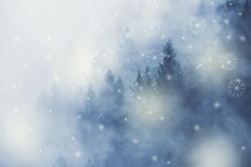 Winter season cloudy forest landscape with abstract snowflakes.