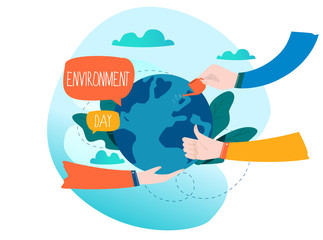World Environmental Day ecology concept flat vector illustration. Save the earth, environment protection, ecology awareness design for mobile and web graphics