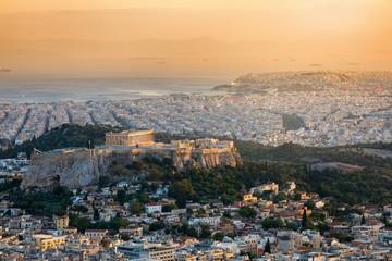 Fotomurales - Panoramablick auf die Stadt Athen in Griechenland mit der Akropolis und dem Parthenon Tempel bei Sonnenuntergang