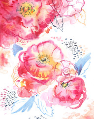 Hand drawn stylized watercolor illustration of abstract pink roses on decorative textured background