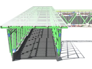 Modern elevated pedestrian crossing of glass and metal. 3D rendering. Structure of metal beams, concrete columns and glass. Isolated on white background.