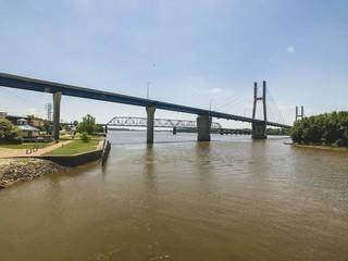 Quincy Bayview Suspension Bridge over Mississippi River