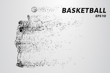 Basketball of the particles. A basketball player consists of dots and circles.