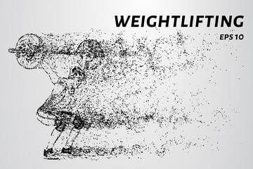 Weightlifter of particles. Weightlifter is preparing to raise the bar.