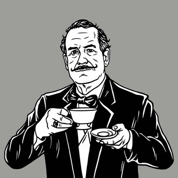 Man with Moustache Drinking Tea. Vector Vintage Retro Illustration