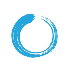 Blue Zen Enso Circle Brush Vector Illustration