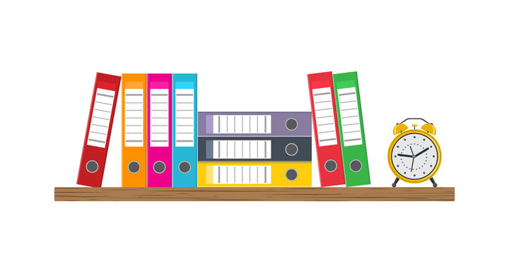 Vector illustration.Wooden shelf with binder folders and alarm clock.