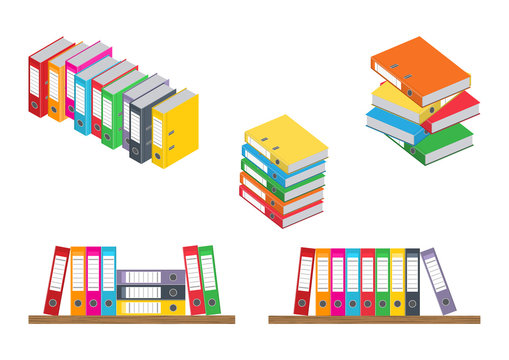 Vector illustration. Set of colorful binder in different planes on white background.