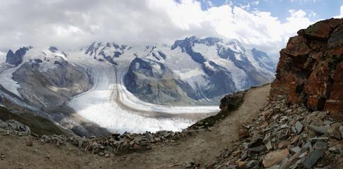 Glacial ice melting on mountais of Gornergrat, switzerland