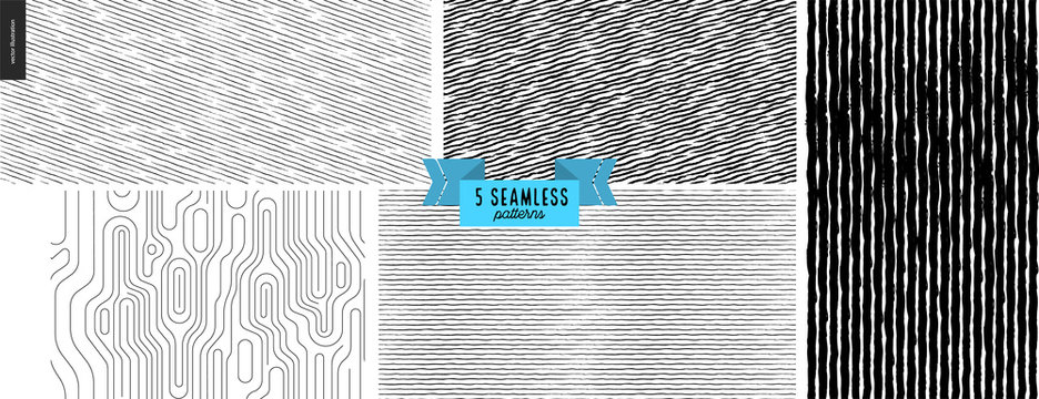 Set hand drawn black, white fabric pattern. Vector seamless pattern. Abstract background, brush strokes. Monochrome texture. Hipster graphic design. Endless vector, simple scratchy textures, stripes