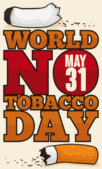 Broken Cigarette and Awareness Message for World No Tobacco Day, Vector Illustration