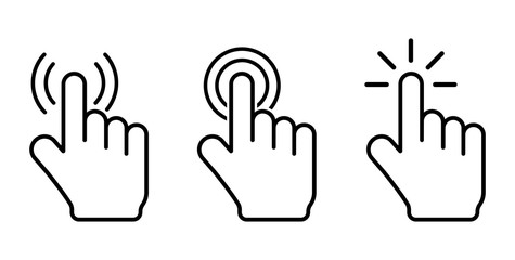 Hand click icons set. Vector illustration