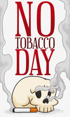 Skull with Cigarette and Smoke for No Tobacco Day, Vector Illustration