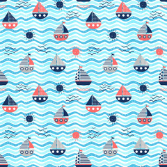 Nautical vector seamless pattern with red and blue boats, waves and suns on wavy backgrounds for summer graphic design