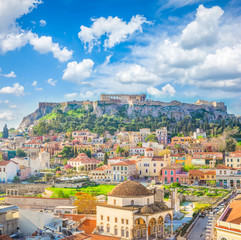 Photo sur Aluminium Athenes Skyline of Athenth with Acropolis hill