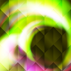 Green polygonal illustration consist of hexagonal elements. Triangular pattern for your business design. Geometric background with gradient.