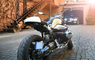 Beautiful motorcycle parked on a street