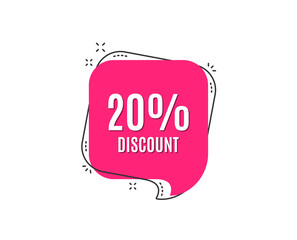 20% Discount. Sale offer price sign. Special offer symbol. Speech bubble tag. Trendy graphic design element. Vector