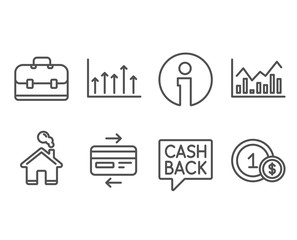 Set of Money transfer, Infochart and Credit card icons. Growth chart, Portfolio and Usd coins signs. Cashback message, Stock exchange, Bank payment. Upper arrows, Business case, Cash payment. Vector
