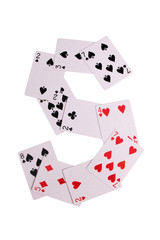 Cards for casino in words with on white background