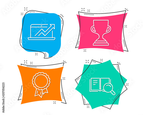 Set of success award cup and sales diagram icons search book sign set of success award cup and sales diagram icons search book sign award ccuart Choice Image