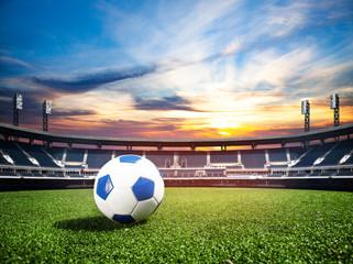 Ball on soccer stadium championship concept