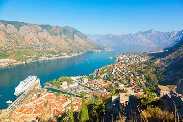 Panoramic aerial view of Kotor and Boka Kotorska bay, Montenegro